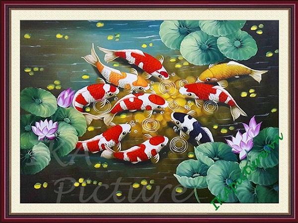Tranh phong thủy cửu ngư vẽ sơn dầu