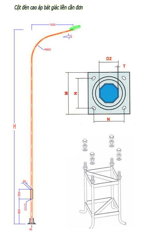 98.Mẫu cột đèn chiếu sáng công cộng dạng cột thép bát giác.ảnh 1